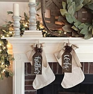 Wood Name Tag Decor- Stockings, Gifts, Trays Etc